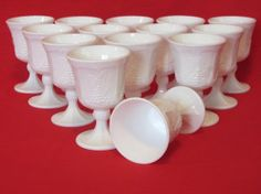 Vintage Milk Glass Colony Harvest Goblets by TheEverlastingGarden, $11.00