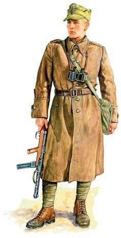 Żołnierz KOP z pistoletem maszynowym Mors