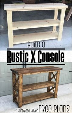 Rustic console, build it yourself, diy furniture, tv stand, entryway table, hallway table, dining room, family room, sofa table, kitchen, entry way, hallway, bedroom, diy, wood and tools, stained any color, paint or stain, rustic, farmhouse, diy furniture, home decor, diy decor, modern, storage, shelf, baskets, lamps, pillows, pictures, easy to make #afflink #diytvstandsmodern #diytvstandswood