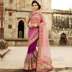Purple And Pink Georgette Embroidered Saree