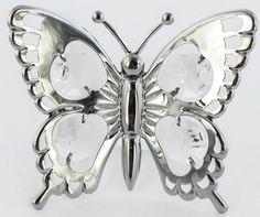 Ritterfalter Schmetterling mit Saugnapf MADE WITH SWAROVSKI ELEMENTS - premium-kristall