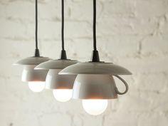 3er-Tassenlampe mit schwarzem Textilkabel von Der Lampenladen auf DaWanda.com