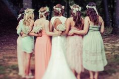 Rustic Bride and Bridesmaids in Floral Crowns