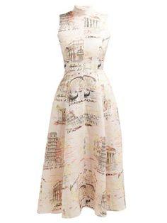 Emilia Wickstead - Sheila Italy-print Midi Dress - Womens - Pink Print Source by matchesfashion midi dress Beach Wear Dresses, Day Dresses, Dress Outfits, Summer Dresses, Outfit Summer, Logos Retro, Midi Flare Skirt, Emilia Wickstead, Satin