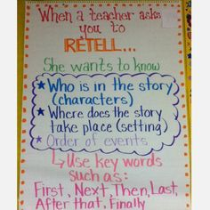 Use Recount instead Retelling Anchor Chart. Good for kids who need to work intensively on basic reading skills. Paired, possibly, with visuals for kids with limited proficiency or processing issues. Reading Strategies, Reading Skills, Reading Comprehension, Partner Reading, Reading Response, Comprehension Strategies, Reading Logs, Reading Levels, Kindergarten Reading