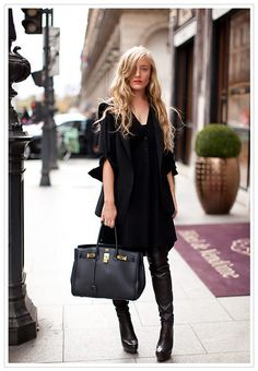 BLACK STREET CHIC: oversized t-shirt dress, leather knee high boots, relaxed long waves, red lipstick, finished off with a classic black  hermes belkin bag Black on black all black