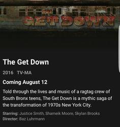 The Get Down. An original NetFlix series, released August Can't wait. The Get Down, August 12, Wild Style, Netflix Series, Public School, Hip Hop, Teen, The Originals, Life