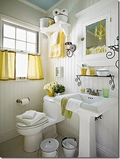 simple half curtains could be a nice alternative to window film in the half bathroom