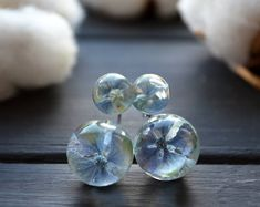 Mother gift Miniature terrariums Hydrangea Resin Double sided earrings Terrarium jewelry Gift for mom Gift for women Mothers day gift