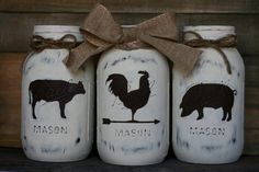 Home Decor Diy Farmhouse Trio Mason Jars-Rooster Cow Pig by LovelyLilysPlace on Etsy.Home Decor Diy Farmhouse Trio Mason Jars-Rooster Cow Pig by LovelyLilysPlace on Etsy Mason Jar Projects, Mason Jar Crafts, Mason Jar Diy, Diy Projects, Fall Mason Jars, Sewing Projects, Bottles And Jars, Glass Jars, Clear Glass