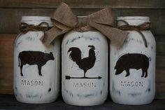 Farmhouse Trio Mason Jars-Rooster, Cow, Pig, Mason Jar, Centerpiece, Housewarming, Farmhouse decor, Wedding Centerpiece