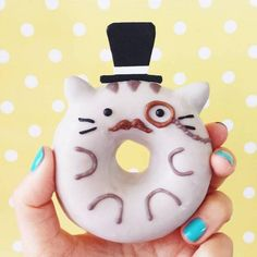 10 Super-Cute Donuts for the Little Kid in Us All via Brit + Co Mini Donuts, Cute Donuts, Doughnut, Donut Cat, Delicious Donuts, Delicious Desserts, Yummy Food, Cute Baking, Kawaii Dessert