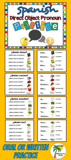 Oral or written practice to help students finally get the Spanish direct object pronouns! Spanish Songs, Spanish Phrases, How To Speak Spanish, Learn Spanish, Spanish Grammar, Spanish 1, Spanish Lessons For Kids, Spanish Basics, Spanish Worksheets