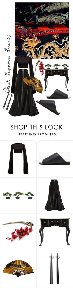 """Black japanese serenity"" by dilaraturkoglu on Polyvore featuring moda, Puma, Mizutori, Nearly Natural, Rosie Assoulin ve Georg Jensen"