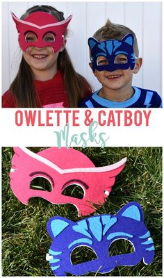 Make Owlette and Cat Boy masks from PJ Masks for way less than you can buy, plus they'll actually fit! Includes PDF for each mask. Diy Costumes For Boys, Family Halloween Costumes, Boy Costumes, Super Hero Costumes, Halloween Cat, Halloween Games, Halloween Ideas, Pj Masks Costume, Costume Ideas