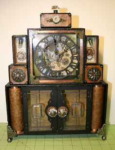 Steampunk Entertainment Center...Thomas' future man cave will be epic!
