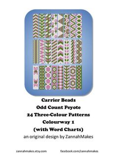 Carrier Bead Patterns, Odd Count Peyote, Three-Colour Patterns, Full Word Charts, Colourway 1 Carrier beads need strips 7 beads wide, and either 48 or 50 rows, depending on the manufacturer. Ive designed to 48 rows as it meant I was more likely to be able to join patterns as I could use