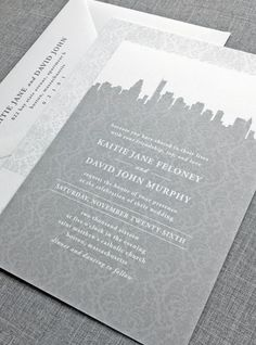 Chic cityscape invitation design. Love this for a modern, downtown wedding!