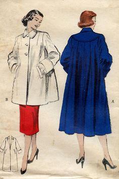 1950s Butterick Pattern 6285 Vintage Swing Coat Yoke Back
