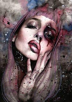 """Externalize"" by Rose Ellen Swenson Inspiration Art, Art Inspo, Art Sketches, Art Drawings, L'art Du Portrait, Arte Obscura, Arte Horror, Digital Art Girl, Dope Art"