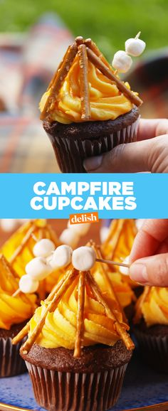Campfire Cupcakes are almost too cute to eat ... almost. Get the recipe from Delish.com.