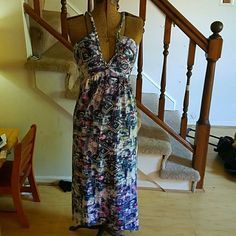 Sundress Tie dye maxi dress with spaghetti straps and lace back Dresses Maxi
