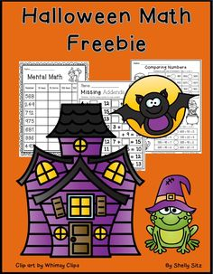 Halloween Math Freebie--mental math, missing addends, ordering numbers, and fact families