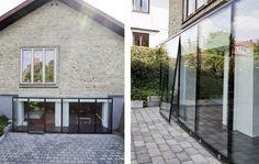 Karnap i 100% glas Arkitekt Morten Dalsgaard så mulighederne i at etablere en glaskarnap, som følger hele kælderetagens længde. Med glaskarnappen, der er specialfremstillet med front, sider, skillevæg og tag i tolags hærdet energiglas, udnyttes dagslyset optimalt. Foto: Christina Kayser Onsgaard