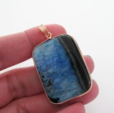 Layering Blue Black Agate Pendant  Gold Frame Bezel by BijiBijoux