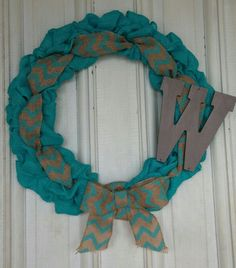 Teal Burlap Wreath with a letter added