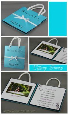 Estilo Tiffany Quinceañera Bolsa Invitación  ------------- Tiffany Quinceañera Invitation- Bag Style
