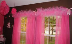 Tulle window valance - I've never seen this but such a CUTE idea!