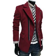 TheLees Mens Unbalance Zipup Slim Fit PEA Coat Jacket -- I wish it was redder lol Sharp Dressed Man, Well Dressed, Tomboy Fashion, Mens Fashion, Tomboy Stil, Swagg, Men Dress, Blazers, Men Casual