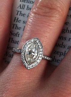 Real Ritani Engagement Rings - Marquise Diamond Halo Micropavé | #RitaniPinterest