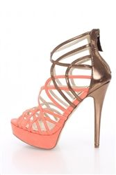 Liliana Lilith-1 Orange Coral Faux Suede Metallic Two Tone Heels