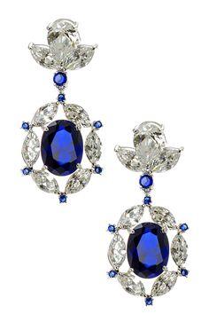 CZ by Kenneth Jay Lane Blue & Clear CZ Wow Oval Drop Earrings ----Gorgeous