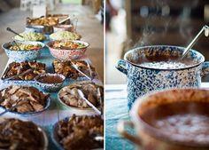 Hearty rustic wedding food served in enamelware for an autumn celebration www.thenaturalweddingcompany.co.uk