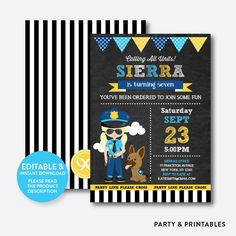 Police Girl Chalkboard Kids Birthday Invitation / Editable / Instant Download…