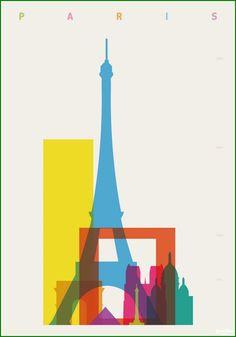 PARIS - colorful city silhouette prints by Yoni Alter City Art, Tour Eiffel, Art Parisien, Louvre Pyramid, Paris Ville, City Illustration, Poster S, Print Poster, Arte Pop