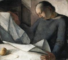 'Reading a Newspaper' (1925) by Italian artist Nella Marchesini (1901-1953). via it's about time