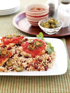 Spicy Salsa Chicken:  You need only five ingredients for this Southwest chicken dinner. Chicken thighs topped with salsa and jalapenos bake in the oven while you prepare the quick rice and bean side dish on the stovetop.