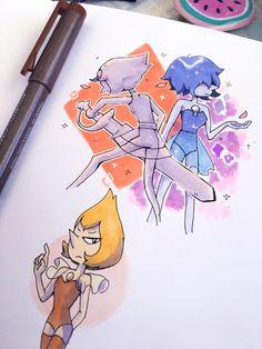 Credit to the artist! Pearl Steven Universe, Steven Universe Drawing, Steven Universe Comic, Universe Art, Pokemon Fusion, Sapphire Su, Amethyst Su, Holly Blue, Yellow Pearl