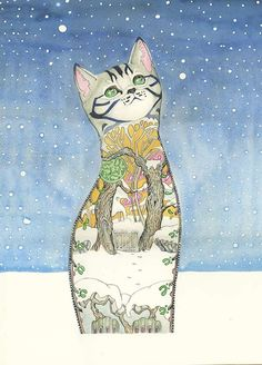 Cat in the Snow - Card