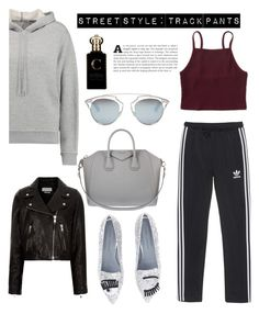 """""""Street style: track pants"""" by julianamarquez ❤ liked on Polyvore featuring Chiara Ferragni, adidas Originals, T By Alexander Wang, Étoile Isabel Marant, Givenchy, Christian Dior, Aéropostale and Clive Christian"""