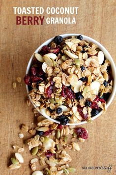 Amazing breakfast or healthy snack recipe   Toasted coconut berry granola from @sixsistersstuff