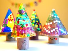 3D Paper Plate Christmas Trees!