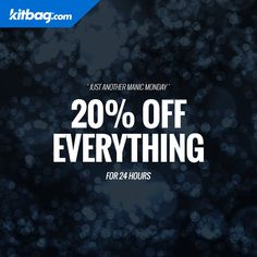 KITBAG has 20% discount on EVERYTHING today only!! Click link http://tidd.ly/cf8d6047 to browse and by at cheap prices.Thanks