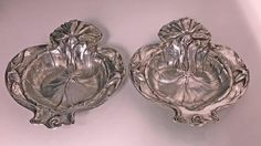 For Sale on - Pair of American Alvin Sterling Art Nouveau dishes, New Jersey, circa Each formed as a stylized water lily leaf with blossom handle. Gorham Sterling, Sterling Silver, Art Nouveau, Dining Furniture, American, Antique Silver, Entertaining, Dishes, Antiques