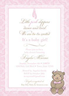 DIY Baby Shower Invitation - Teddy Bear Ballerina Template