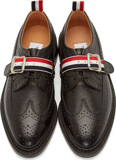 Black Longwing Harness Brogues - THOM BROWNE